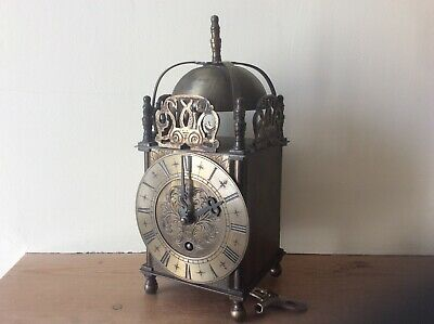 Antique Brass Mechanical Lantern Clock.