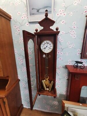 """Antique Hermle Wind up Wall Clock in Wooden Glass Cabinet Display 38x12"""""""