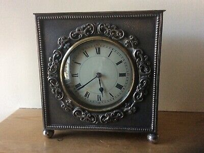 Antique Silver Plated French Mantle Clock. 8 Day.working.