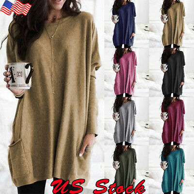 Women Long Sleeve T-shirt Casual Loose Tunic Tops Pullover Jumper Sweater Blouse