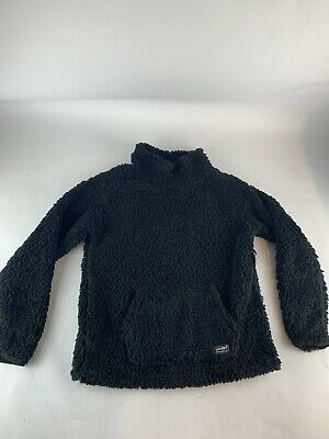 Eddie Bauer Womens Black Fireside Fleece Plush Pullover Funnel-Neck Size Small S