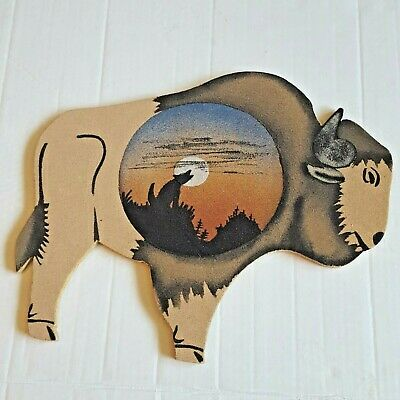 Hand Painted Buffalo With Coyote Howling At The Moon 15 X 12