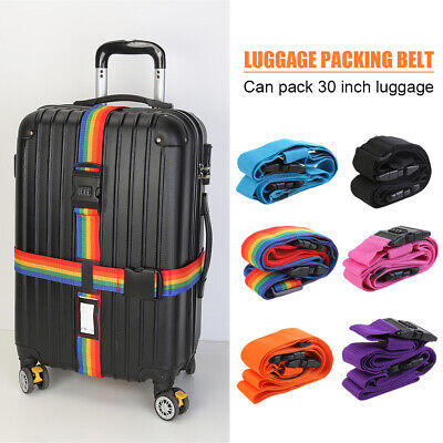 Luggage Strap Cross Belt 3 Digits Password Lock Travel Suitcase Buckle Belt Set