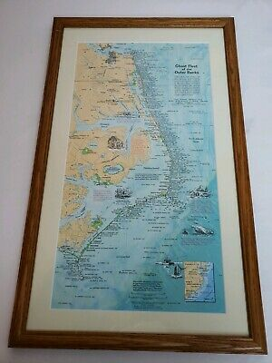National Geographic Framed 1970 Ghost Fleet Of The Outer Banks Shipwreck Map