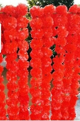 Artificial Marigold Garland red  Decoration Pack Of 5 x 5 packs customized