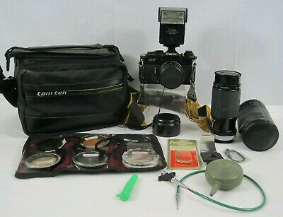 Vintage Lot Canon EF Camera - Case Lens Flash Zoom Filters Accessories