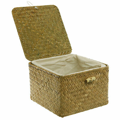 Brown Hand Woven Storage Basket / Decorative Box with Removable Fabric Interior
