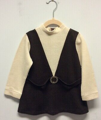"""Fab 1960s Brown And Cream Knitted Mod Style Baby Dress 26"""""""