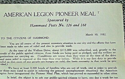 Hammond, IN History -- 1932 American Legion Depression Era Meal Fund Letter