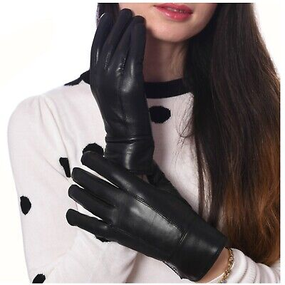 Womens Leather Gloves Gift Box Black Warm Driving Gloves Thinsulate Lined