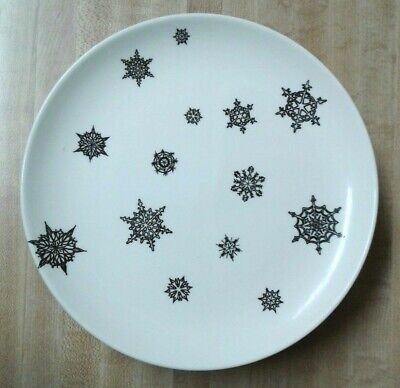 Vintage Taylor-Smith-Taylor Luncheon Plates 'Midnight' Black Snowflake Set of 8!