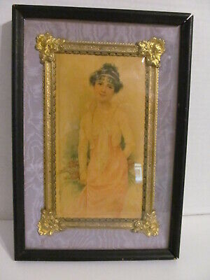 Celluloid Art Deco Lady & Roses Framed Ornate Gold Gilt Frame in Shadow Box