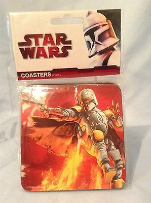 "Starwars Wood Coasters Cork Backed 2010  Set/4 styles 3 7/8"" Vandor 99085 $8.99"