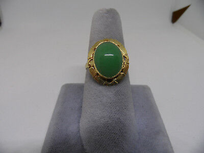 Chinese Vintage Green Agate  Gold Wash Vermeil Silver Adjustable Ring