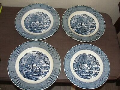 """Lot 4 Currier and Ives Royal dishes 10"""" Dinner Plates Salad """"Old Grist Mill"""""""