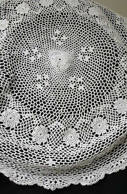 Vintage Ecru Round Hand Crochet Tablecloth Lace Table Cloth Floral Doily 39""