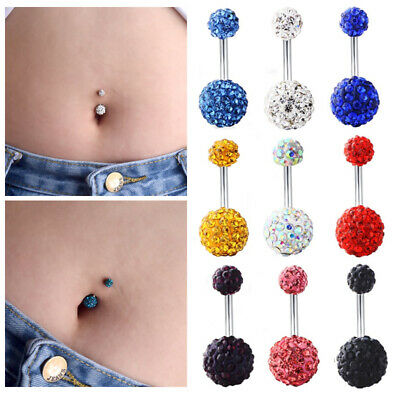 Rhinestone Ball Navel Belly Button Rings Bar Barbell Body Piercing Jewelry Gift