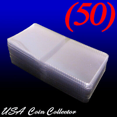 (50) 2.5x2.5 Double Pocket Vinyl Coin Flips for Storage- PVC Free Plastic Holder