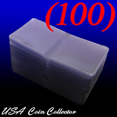 (100) 2.5x2.5 Double Pocket Vinyl Coin Flips for Storage - Plastic Holders