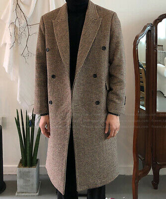 Mens Houndstooth Long Trench Coat Double-breasted Outwear Peak Lapel Jacket Suit