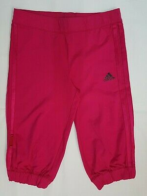 Adidas Kids Girl Trousers Crop Bottoms 3/4 Joggers Tracksuit Gym in Pink