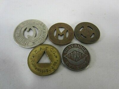 5 Vintage Railway & Bus Tokens