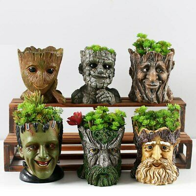 Flower Pot Resin Garden Planter Bonsai Succulent Plant Flowerpot Home Decoration