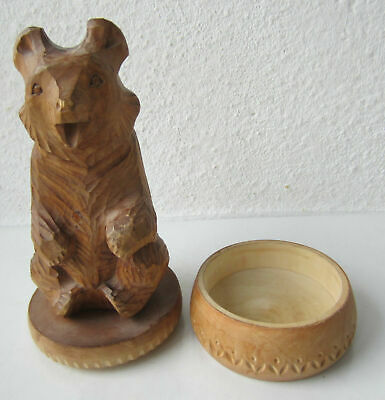 "9"" Hand Carved Wooden Bear on oval box Figure animal statue, Rare"