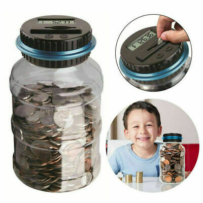 Piggy bank coin counter digital money jar counting LCD electronic display PLUS,