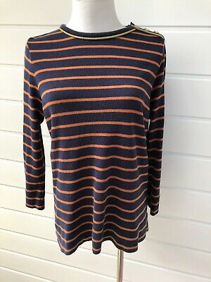 TORY BURCH Womens Navy Blue & Orange Striped Soft Cotton Top - Large
