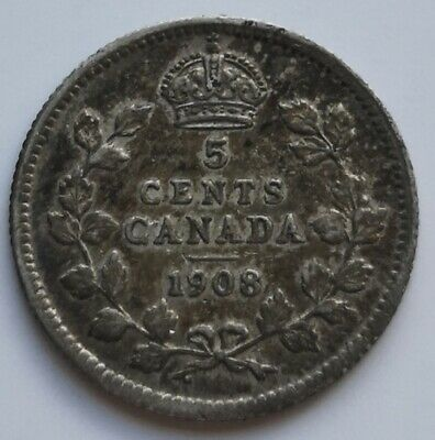 *** Canada  King  Edwards  ***  Five  Cents 1908  #1 *** Key  Date ***