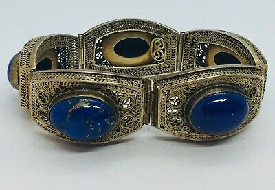 Chinese Export Sterling Silver Gold Vermeil Filigree Blue Lapis Lazuli Bracelet