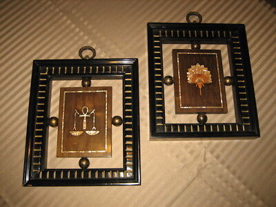 Antique Pair of 2 Wall Hangings - Wood Inlayed Mother of Pearl  ANKH PEACOCK FAN