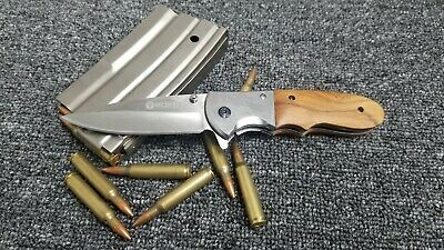 BOKER POCKET KNIFE Stainless Spring wood Assisted EDC FISHING HUNTING CAMPING