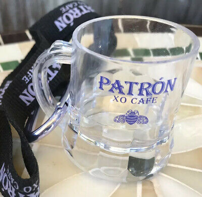 Patron XO Cafe Tequila Official NEW Lanyard Collectible Key Chain w/ Shot Glass