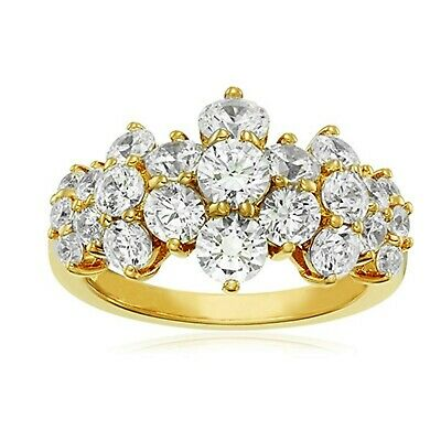 Valentines Day 1.5Ct Brilliant Cz Prong Setting Cluster Ring In Solid 925 Silver