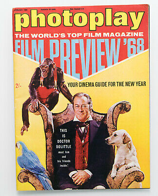 Vintage Photoplay & Film Monthly magazine January 1968 Dr Dolittle cover