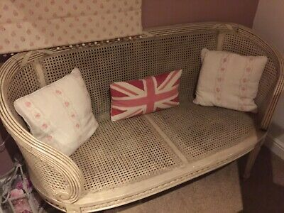 Antique French Louis XVI Regency style Bergere Rattan / Cane Bench or Sofa