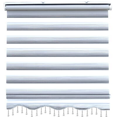 Brillant Zebra Perde Window Blind Double Roller Clip-Fit Duorollos Curtains Grey