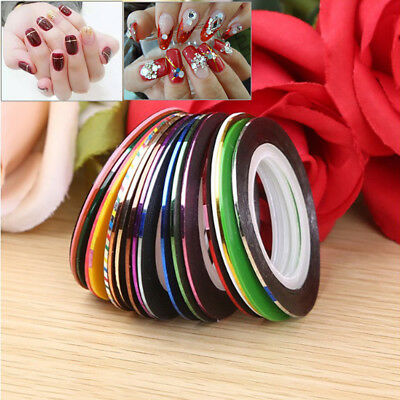 30pcs 20m mixed rolls striping tape line diy nail art tips decoration sticker ~#