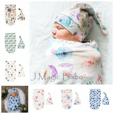 Newborn Baby Infant Floral Swaddle Sleeping Bag Sack Wrap Hat Beanie Photoprop
