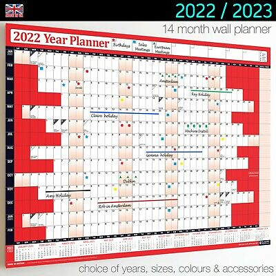 Wall Calendars ✔2020 ✔2021 Year Planner Chart Holidays Staff✔Home✔Office RED