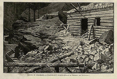 COLORADO GOLD MINING GULCH PLAYED OUT, Deserted Log Cabin & Sleuce in Ruins