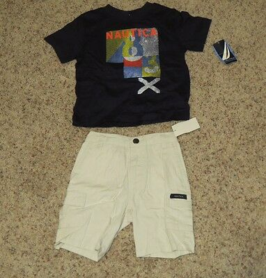 MSRP $50 New NWT Baby Boys NAUTICA 2-Pc Shirt Shorts Outfit Size 24 Months