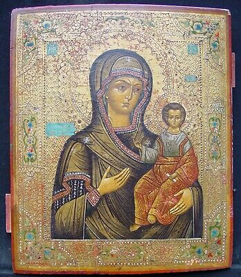 Large Old Russian Icons, Antique Greek Icons Icons Smolenskaja 19th C Russia