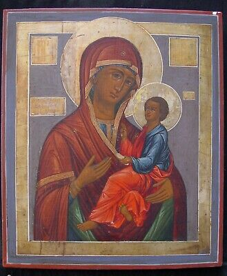 Large Old Russian Icons, Antique Greek Icons Icons Grusiskaya 19th C Russia