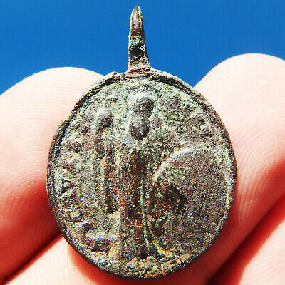 Antique St Benedict Cross Medal Old Black Madonna Montserrat Pendant Found
