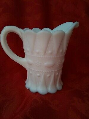 Vintage Kemple Lace And Dewdrop Pattern Milk Glass Creamer Syrup Pitcher