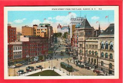Postcard ~ State Street from the Plaza Albany NY trolley ~ Vintage 787
