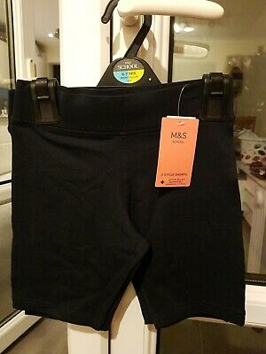 Girls Cycle Shorts x2 Dance Running School dark navy m&s 6-7 years new with lab